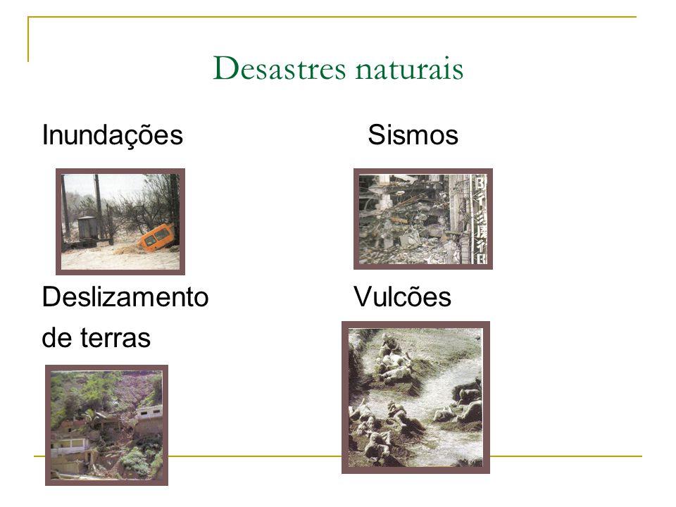Desastres naturais Inundações Sismos Deslizamento Vulcões de terras