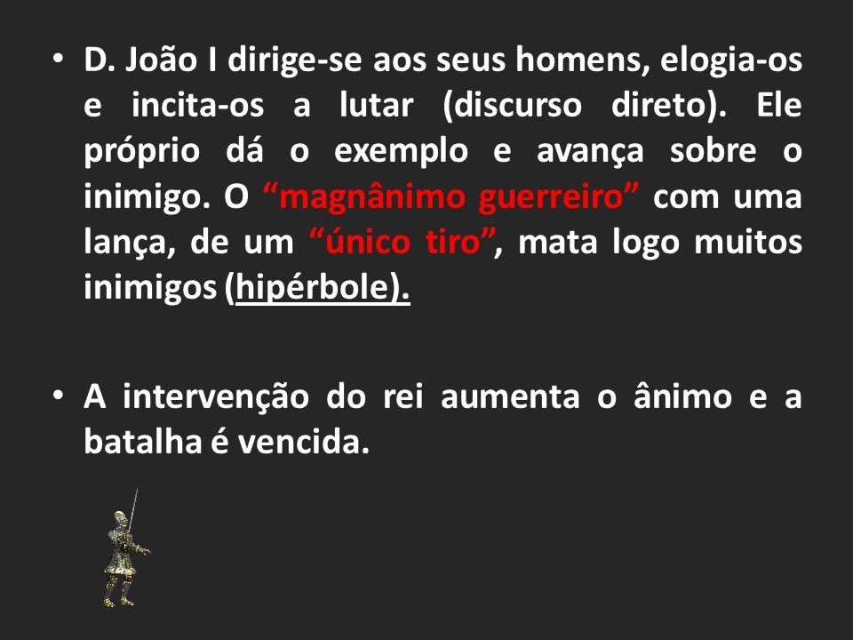 D.João I dirige-se aos seus homens, elogia-os e incita-os a lutar (discurso direto).