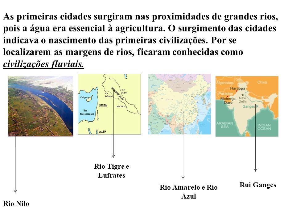 As primeiras cidades surgiram nas proximidades de grandes rios, pois a água era essencial à agricultura.