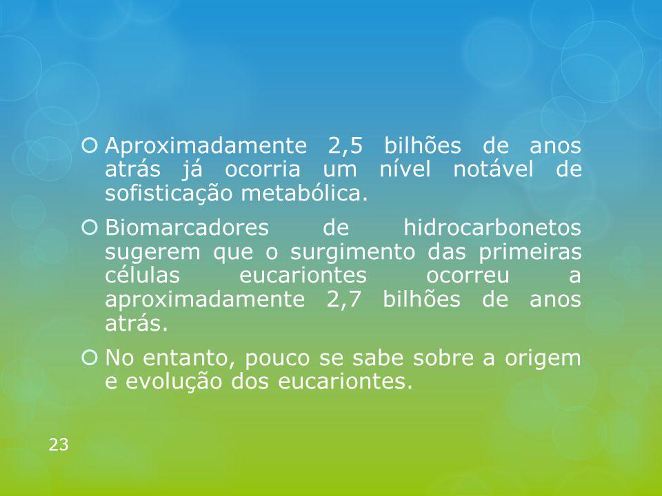  Aproximadamente 2,5 bilhões de anos atrás já ocorria um nível notável de sofisticação metabólica.  Biomarcadores de hidrocarbonetos sugerem que o s