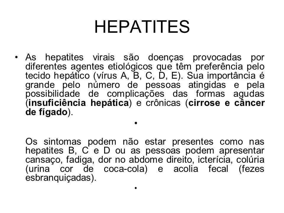 HEPATITES As hepatites virais são doenças provocadas por diferentes agentes etiológicos que têm preferência pelo tecido hepático (vírus A, B, C, D, E)