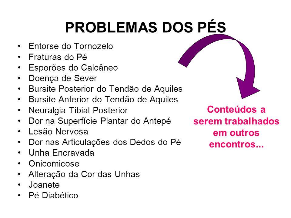 PROBLEMAS DOS PÉS Entorse do Tornozelo Fraturas do Pé Esporões do Calcâneo Doença de Sever Bursite Posterior do Tendão de Aquiles Bursite Anterior do