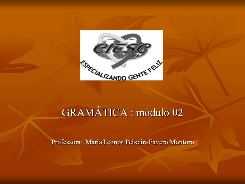 GRAMÁTICA : módulo 02 Professora: Maria Leonor Teixeira Favero Montoro