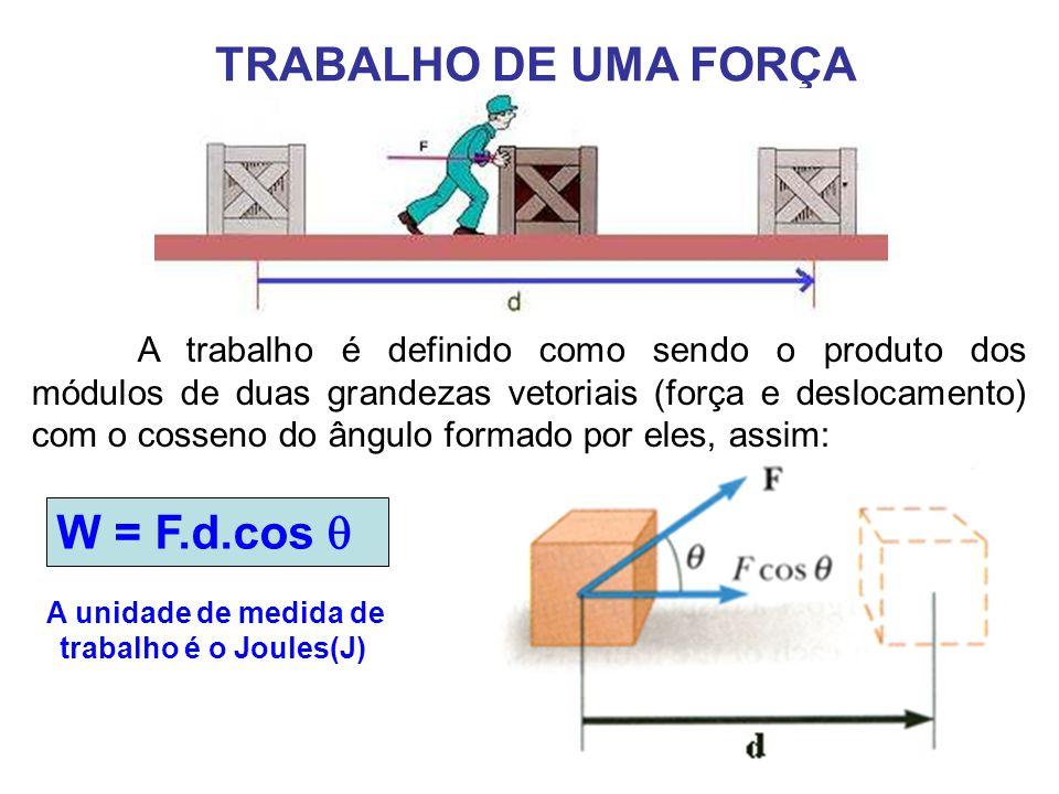 A trabalho é definido como sendo o produto dos módulos de duas grandezas vetoriais (força e deslocamento) com o cosseno do ângulo formado por eles, assim: TRABALHO DE UMA FORÇA A unidade de medida de trabalho é o Joules(J) W = F.d.cos 