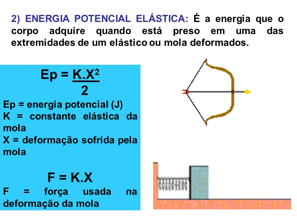 2) ENERGIA POTENCIAL ELÁSTICA: É a energia que o corpo adquire quando está preso em uma das extremidades de um elástico ou mola deformados. Ep = K.X 2