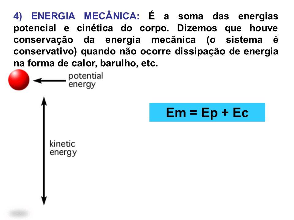 4) ENERGIA MECÂNICA: É a soma das energias potencial e cinética do corpo. Dizemos que houve conservação da energia mecânica (o sistema é conservativo)