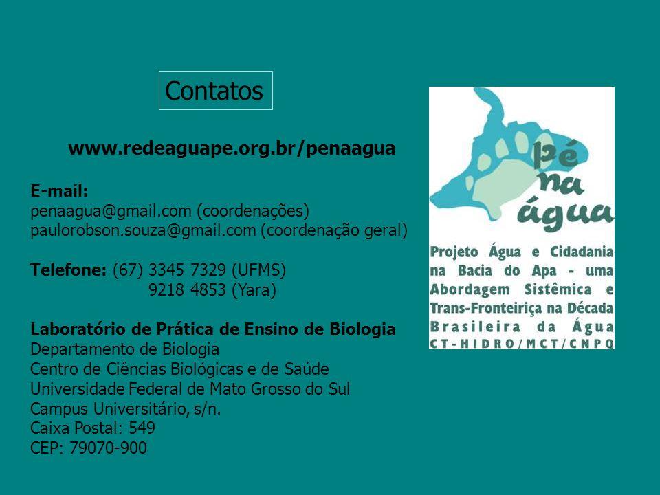 www.redeaguape.org.br/penaagua E-mail: penaagua@gmail.com (coordenações) paulorobson.souza@gmail.com (coordenação geral) Telefone: (67) 3345 7329 (UFM