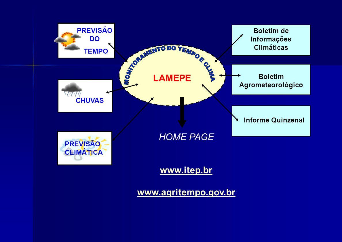 LAMEPE Boletim de Informações Climáticas Boletim Agrometeorológico Informe Quinzenal PREVISÃO DO TEMPO CHUVAS PREVISÃO CLIMÁTICA HOME PAGE www.itep.br www.agritempo.gov.br
