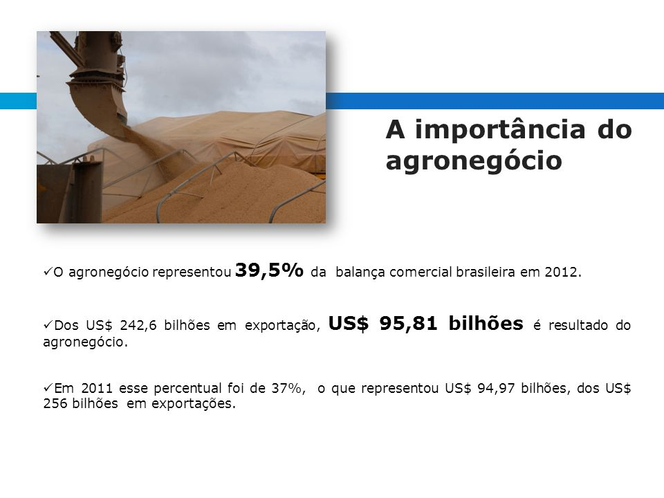 A importância do agronegócio O agronegócio representou 39,5% da balança comercial brasileira em 2012.