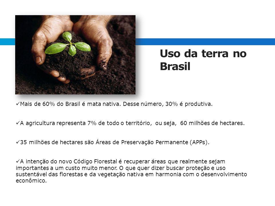 Mais de 60% do Brasil é mata nativa.Desse número, 30% é produtiva.