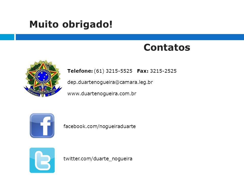Contatos facebook.com/nogueiraduarte twitter.com/duarte_nogueira Telefone: (61) 3215-5525 Fax: 3215-2525 dep.duartenogueira@camara.leg.br www.duartenogueira.com.br Muito obrigado!