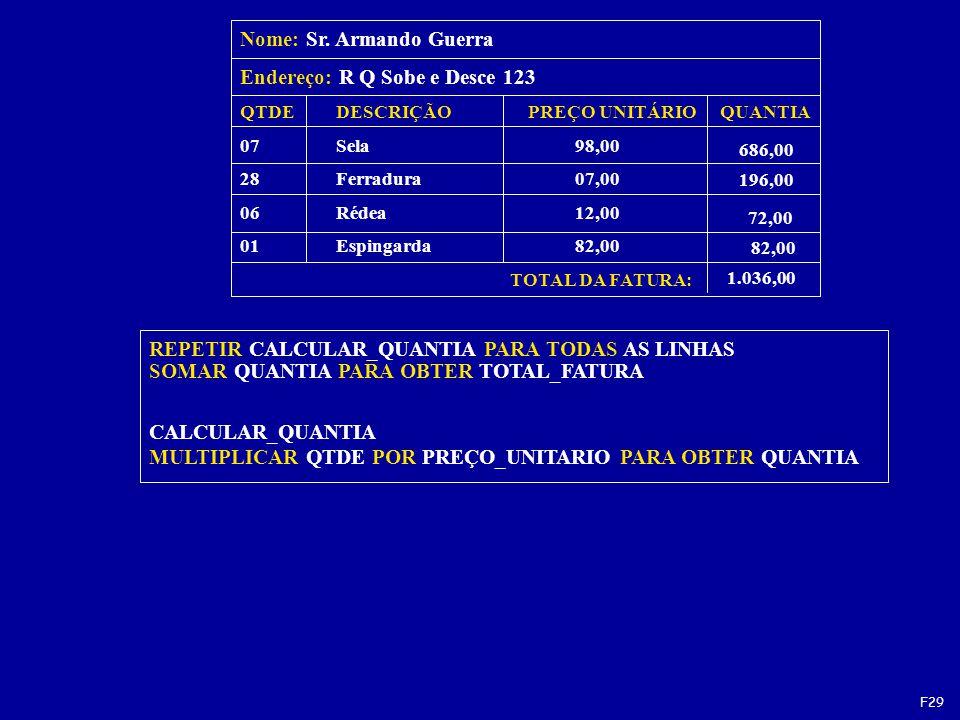 REPETIR CALCULAR_QUANTIA PARA TODAS AS LINHAS SOMAR QUANTIA PARA OBTER TOTAL_FATURA CALCULAR_QUANTIA MULTIPLICAR QTDE POR PREÇO_UNITARIO PARA OBTER QUANTIA QTDEDESCRIÇÃOPREÇO UNITÁRIOQUANTIA 07 Sela 98,00 28Ferradura 07,00 06Rédea 12,00 01Espingarda 82,00 TOTAL DA FATURA: Nome: Sr.