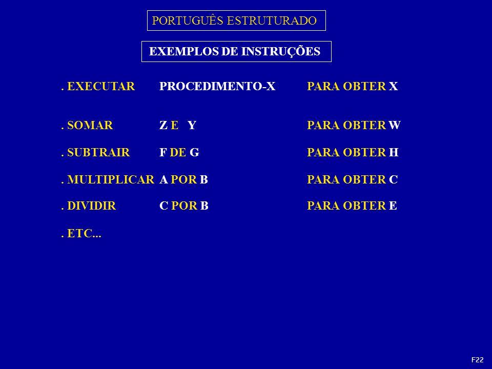 PORTUGUÊS ESTRUTURADO. EXECUTARPROCEDIMENTO-XPARA OBTER X EXEMPLOS DE INSTRUÇÕES.