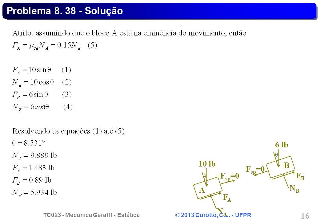 TC023 - Mecânica Geral II - Estática © 2013 Curotto, C.L. - UFPR 16 NANA FAFA F sp =0 10 lb  A FBFB NBNB F sp =0 6 lb  B Problema 8. 38 - Solução
