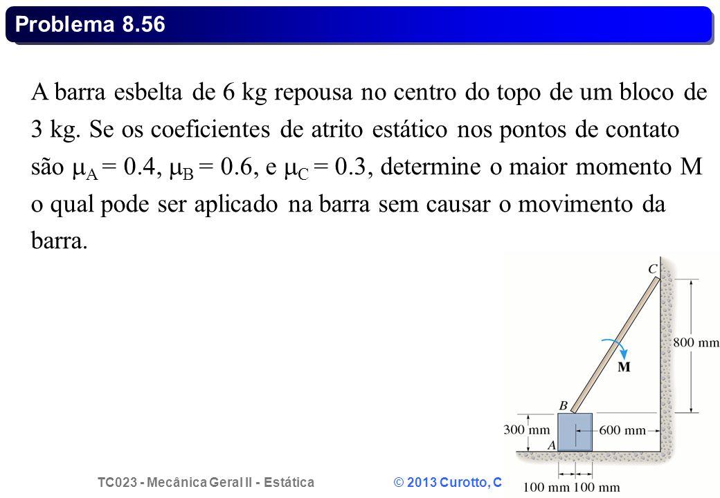 TC023 - Mecânica Geral II - Estática © 2013 Curotto, C.L. - UFPR 18 A barra esbelta de 6 kg repousa no centro do topo de um bloco de 3 kg. Se os coefi