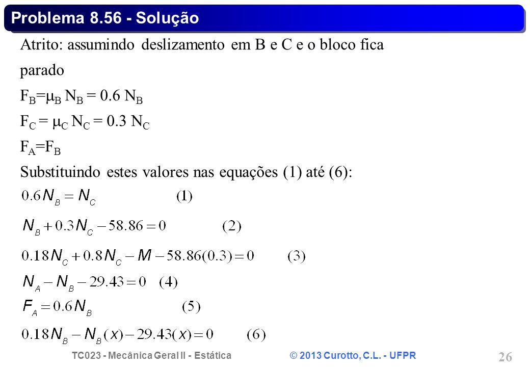 TC023 - Mecânica Geral II - Estática © 2013 Curotto, C.L. - UFPR 26 Atrito: assumindo deslizamento em B e C e o bloco fica parado F B =  B N B = 0.6