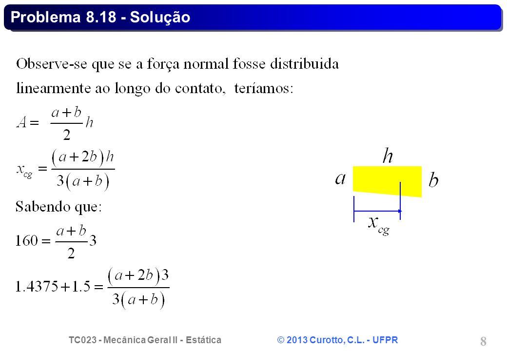 TC023 - Mecânica Geral II - Estática © 2013 Curotto, C.L. - UFPR 9 Problema 8.18 - Solução