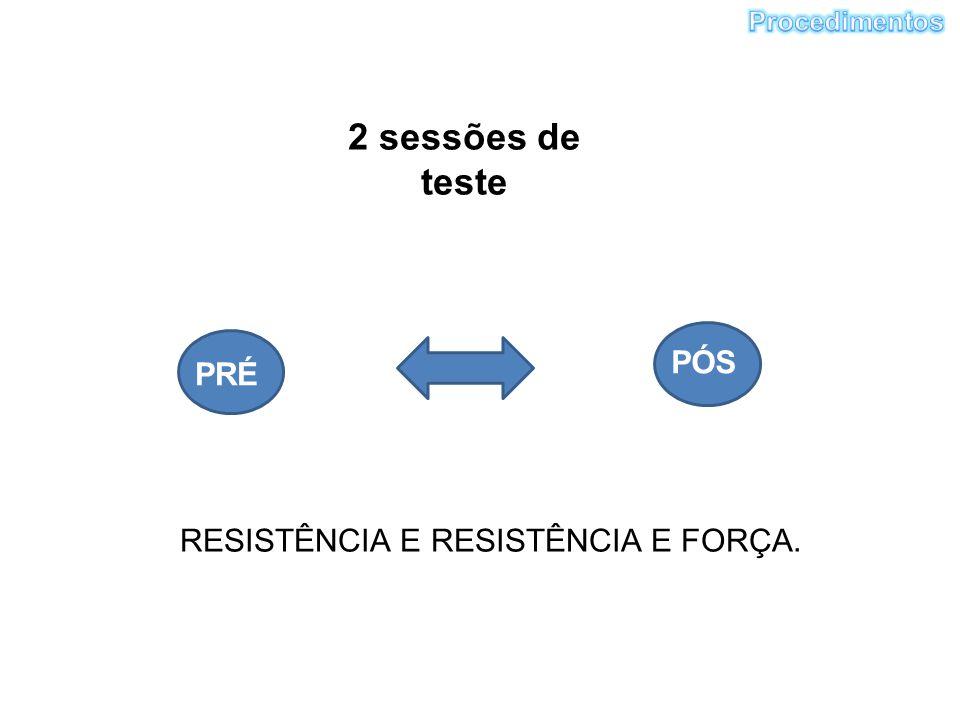 2 sessões de teste PRÉ PÓS RESISTÊNCIA E RESISTÊNCIA E FORÇA.