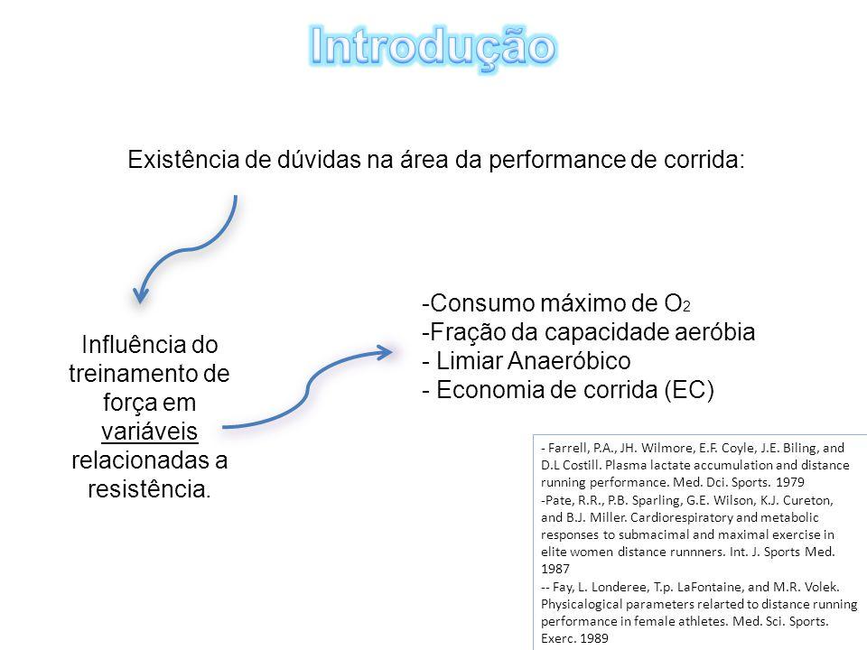 Existência de dúvidas na área da performance de corrida: Influência do treinamento de força em variáveis relacionadas a resistência. -Consumo máximo d