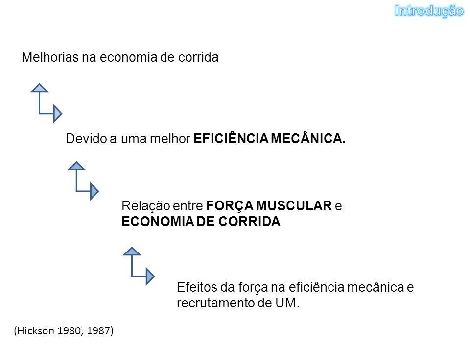 Melhorias na economia de corrida Devido a uma melhor EFICIÊNCIA MECÂNICA. Relação entre FORÇA MUSCULAR e ECONOMIA DE CORRIDA Efeitos da força na efici