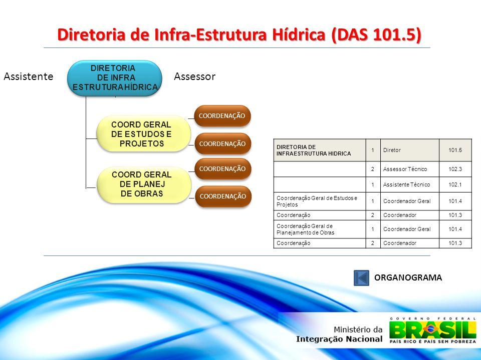 Diretoria de Infra-Estrutura Hídrica (DAS 101.5) ORGANOGRAMA DIRETORIA DE INFRA ESTRUTURA HÍDRICA COORD GERAL DE ESTUDOS E PROJETOS COORD GERAL DE PLANEJ DE OBRAS AssistenteAssessor COORDENAÇÃO DIRETORIA DE INFRAESTRUTURA HIDRICA 1Diretor101.5 2Assessor Técnico102.3 1Assistente Técnico102.1 Coordenação Geral de Estudos e Projetos 1Coordenador Geral101.4 Coordenação2Coordenador101.3 Coordenação Geral de Planejamento de Obras 1Coordenador Geral101.4 Coordenação2Coordenador101.3