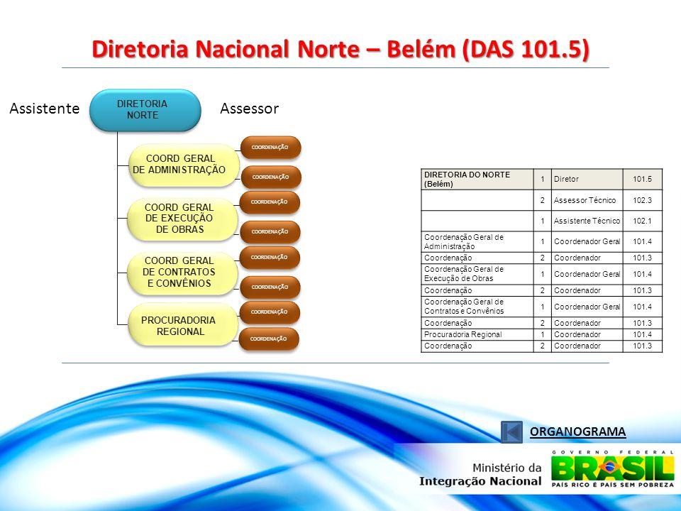 Assistente Diretoria Nacional Norte – Belém (DAS 101.5) ORGANOGRAMA Assessor COORDENAÇÃO PROCURADORIA REGIONAL DIRETORIA NORTE COORD GERAL DE ADMINISTRAÇÃO COORD GERAL DE EXECUÇÃO DE OBRAS COORD GERAL DE CONTRATOS E CONVÊNIOS DIRETORIA DO NORTE (Belém) 1Diretor101.5 2Assessor Técnico102.3 1Assistente Técnico102.1 Coordenação Geral de Administração 1Coordenador Geral101.4 Coordenação2Coordenador101.3 Coordenação Geral de Execução de Obras 1Coordenador Geral101.4 Coordenação2Coordenador101.3 Coordenação Geral de Contratos e Convênios 1Coordenador Geral101.4 Coordenação2Coordenador101.3 Procuradoria Regional1Coordenador101.4 Coordenação2Coordenador101.3