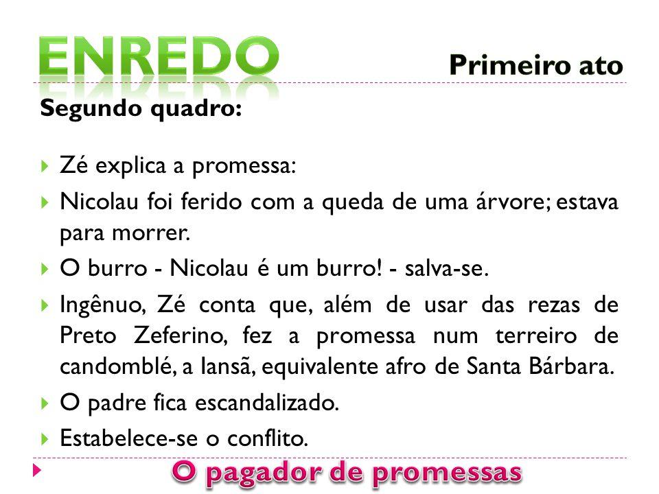 Segundo quadro:  Zé explica a promessa:  Nicolau foi ferido com a queda de uma árvore; estava para morrer.  O burro - Nicolau é um burro! - salva-s