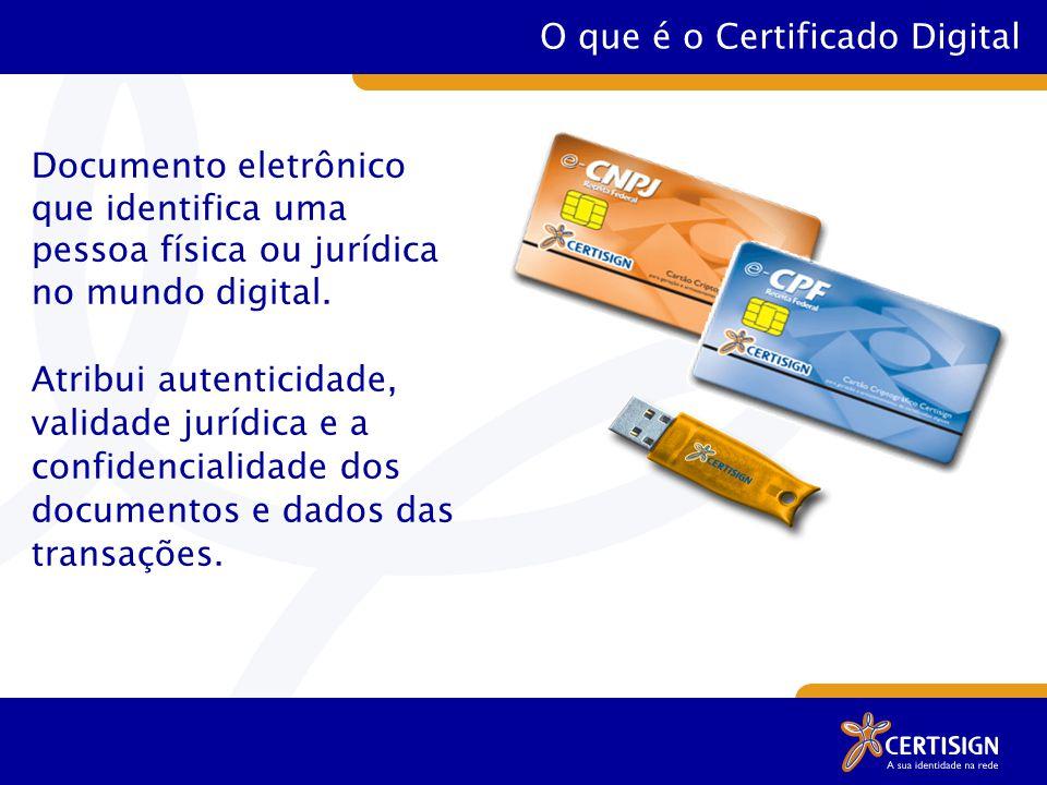O que é o Certificado Digital Documento eletrônico que identifica uma pessoa física ou jurídica no mundo digital.