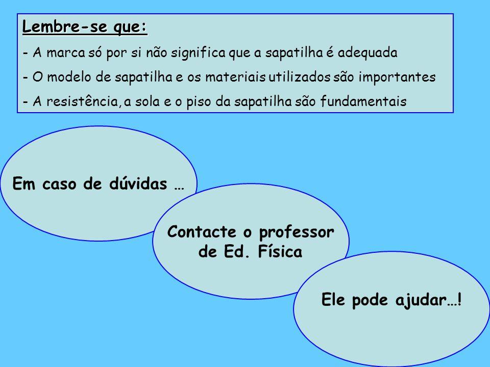 Em caso de dúvidas … Contacte o professor de Ed. Física Ele pode ajudar….