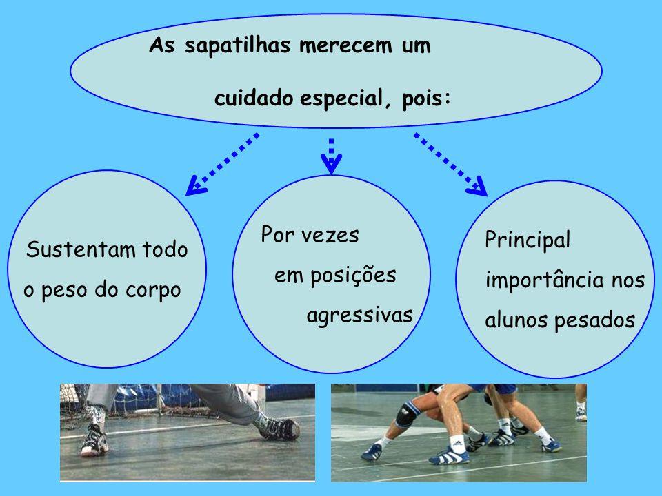 Sustentam todo o peso do corpo As sapatilhas merecem um cuidado especial, pois: Por vezes em posições agressivas Principal importância nos alunos pesados
