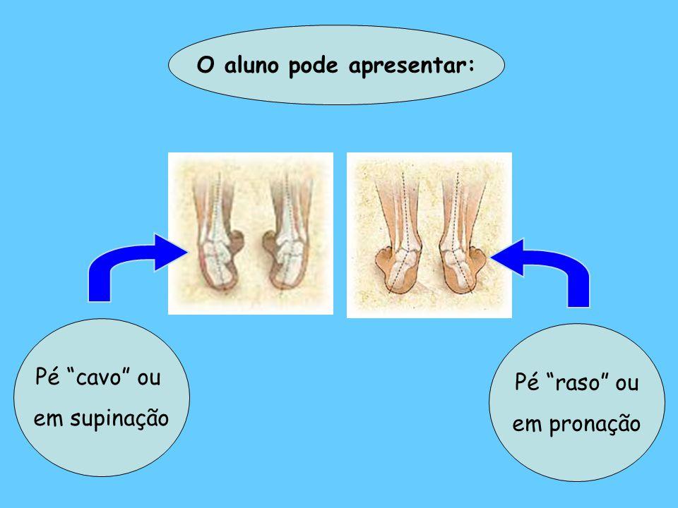 O aluno pode apresentar: Pé raso ou em pronação Pé cavo ou em supinação