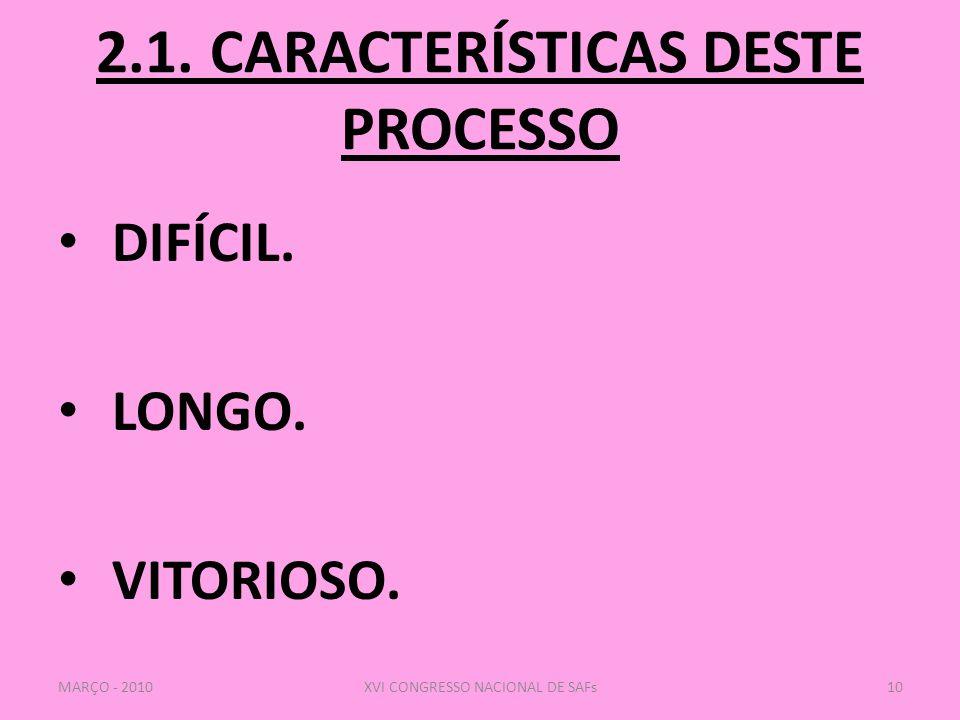 2.1.CARACTERÍSTICAS DESTE PROCESSO DIFÍCIL. LONGO.