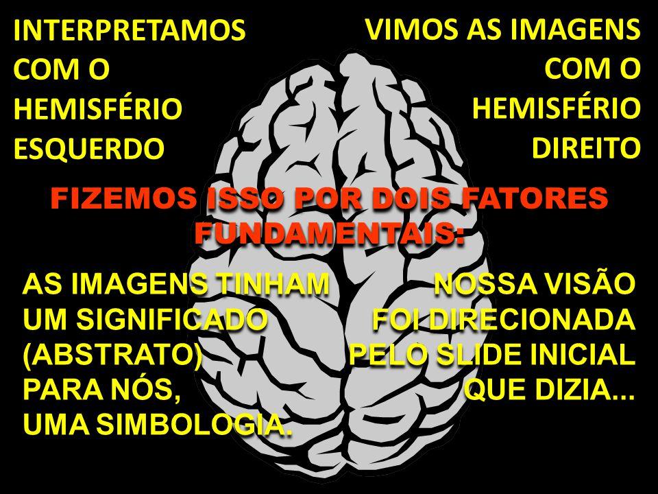 VIMOS AS IMAGENS COM O HEMISFÉRIO DIREITO INTERPRETAMOS COM O HEMISFÉRIO ESQUERDO AS IMAGENS TINHAM UM SIGNIFICADO (ABSTRATO) PARA NÓS, UMA SIMBOLOGIA.
