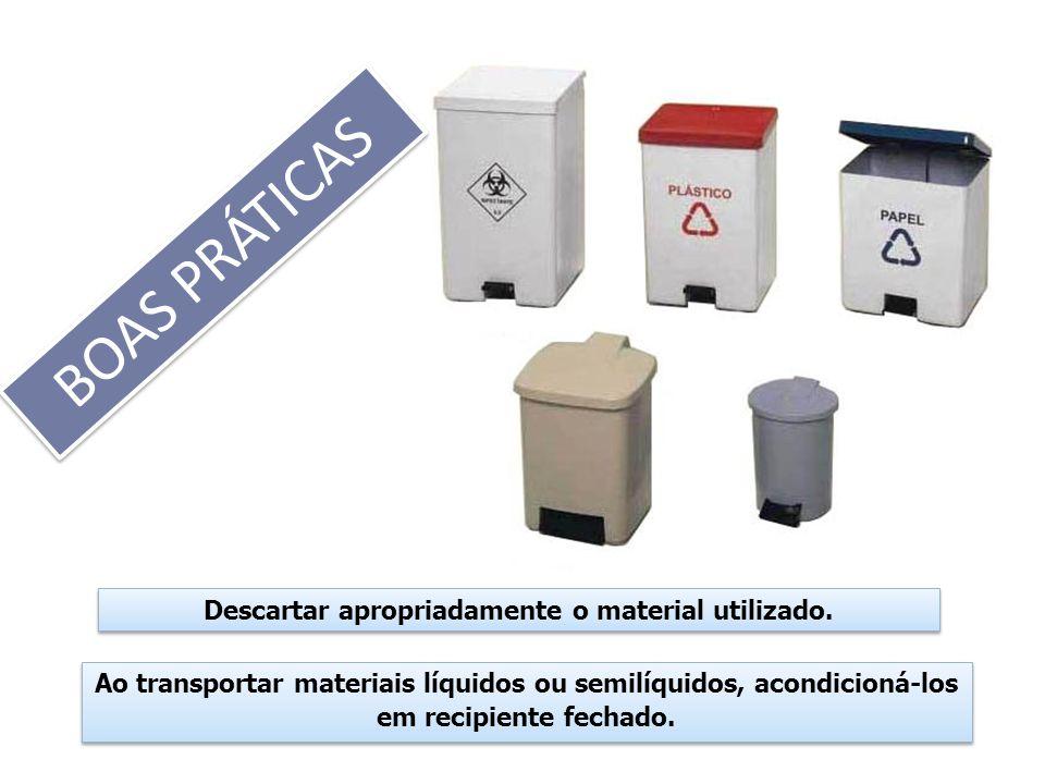 Descartar apropriadamente o material utilizado. Ao transportar materiais líquidos ou semilíquidos, acondicioná-los em recipiente fechado.