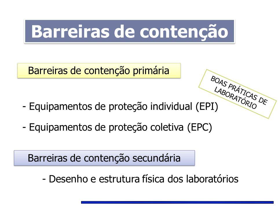 - Equipamentos de proteção individual (EPI) - Equipamentos de proteção coletiva (EPC) Barreiras de contenção primária Barreiras de contenção secundári