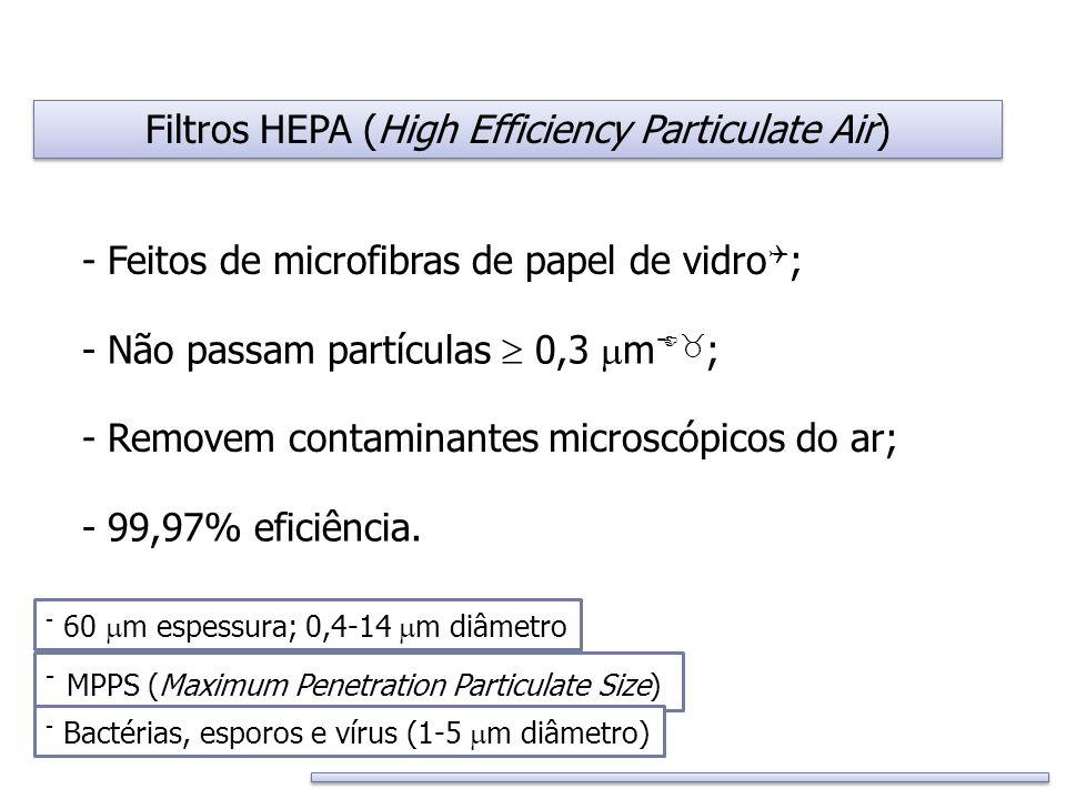 Filtros HEPA (High Efficiency Particulate Air) - Feitos de microfibras de papel de vidro  ; - Removem contaminantes microscópicos do ar; - Não passam