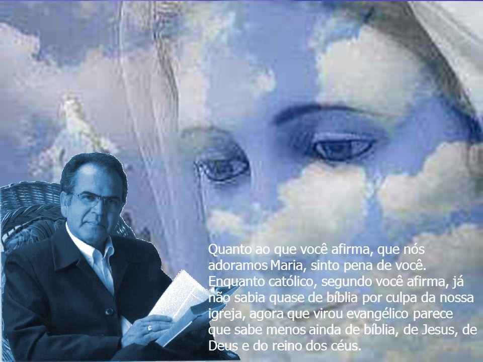 Quanto ao que você afirma, que nós adoramos Maria, sinto pena de você.