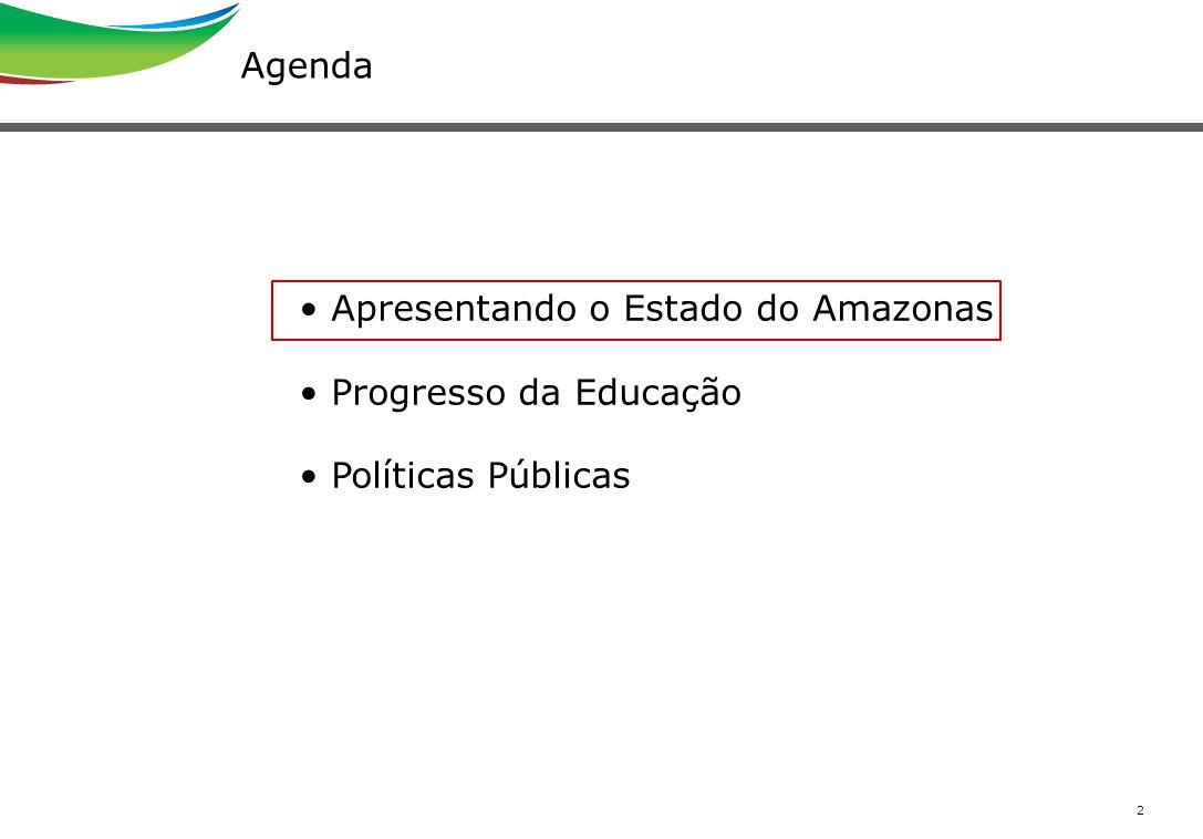 2 Agenda Apresentando o Estado do Amazonas Progresso da Educação Políticas Públicas