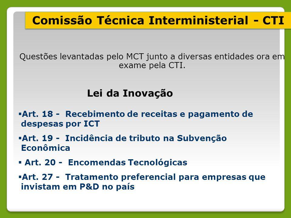 Questões levantadas pelo MCT junto a diversas entidades ora em exame pela CTI. Lei da Inovação  Art. 18 - Recebimento de receitas e pagamento de desp