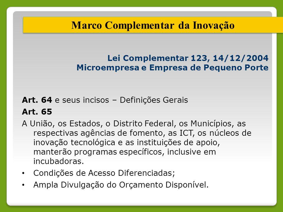 Marco Complementar da Inovação Lei Complementar 123, 14/12/2004 Microempresa e Empresa de Pequeno Porte Art. 64 e seus incisos – Definições Gerais Art