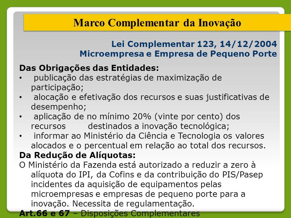 Lei Complementar 123, 14/12/2004 Microempresa e Empresa de Pequeno Porte Das Obrigações das Entidades: publicação das estratégias de maximização de pa