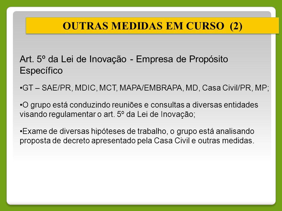 Art. 5º da Lei de Inovação - Empresa de Propósito Específico GT – SAE/PR, MDIC, MCT, MAPA/EMBRAPA, MD, Casa Civil/PR, MP; O grupo está conduzindo reun