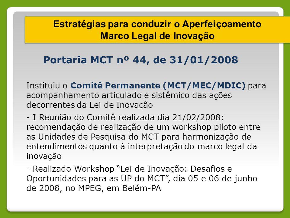 Estratégias para conduzir o Aperfeiçoamento Marco Legal de Inovação Estratégias para conduzir o Aperfeiçoamento Marco Legal de Inovação Portaria MCT n