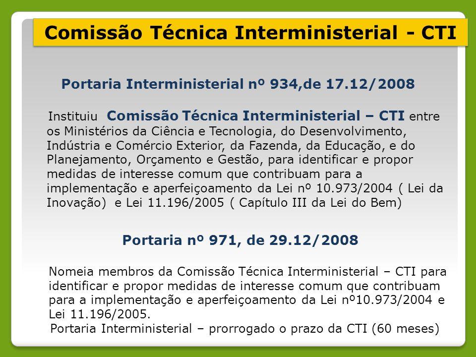 Portaria Interministerial nº 934,de 17.12/2008 Instituiu Comissão Técnica Interministerial – CTI entre os Ministérios da Ciência e Tecnologia, do Dese