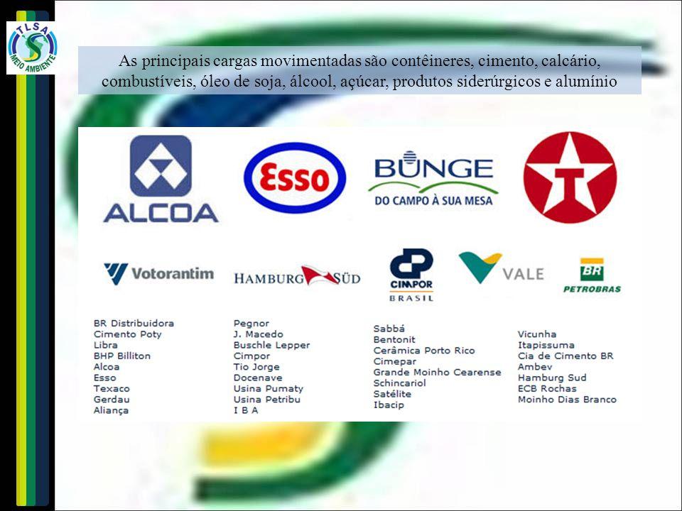 As principais cargas movimentadas são contêineres, cimento, calcário, combustíveis, óleo de soja, álcool, açúcar, produtos siderúrgicos e alumínio