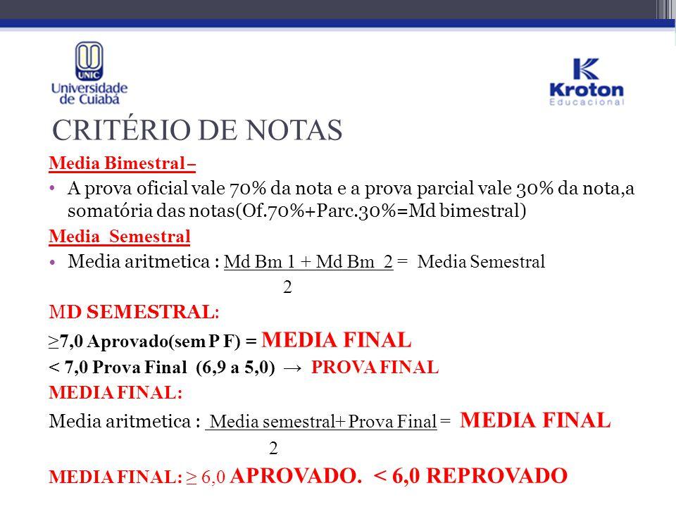 CRITÉRIO DE NOTAS Media Bimestral – A prova oficial vale 70% da nota e a prova parcial vale 30% da nota,a somatória das notas(Of.70%+Parc.30%=Md bimes