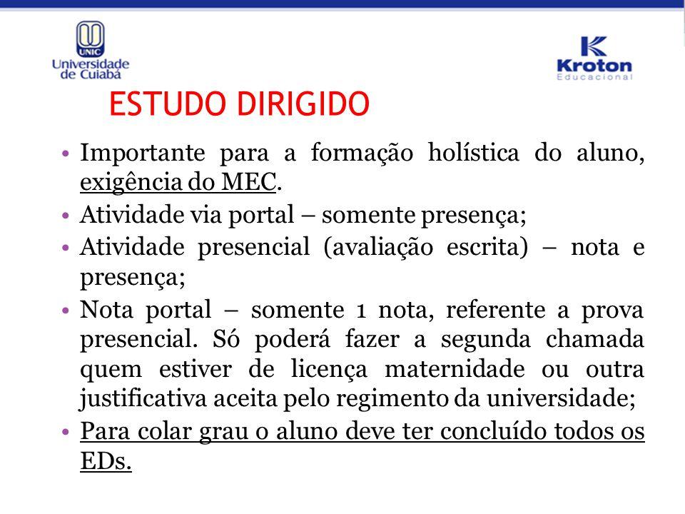 ESTUDO DIRIGIDO Importante para a formação holística do aluno, exigência do MEC. Atividade via portal – somente presença; Atividade presencial (avalia