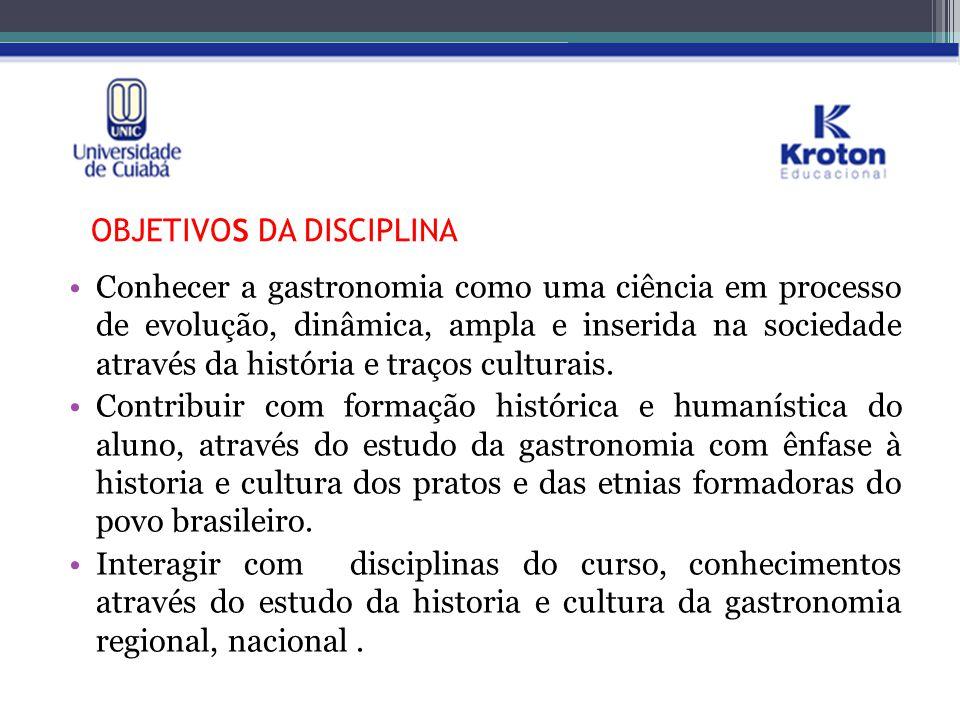 PLANO DE ENSINO: CRONOGRAMA DE AULA/ CONTEÚDO PROGRAMÁTICO Visão Geral das Regiões Brasileiras – Influencias gastronômicas.