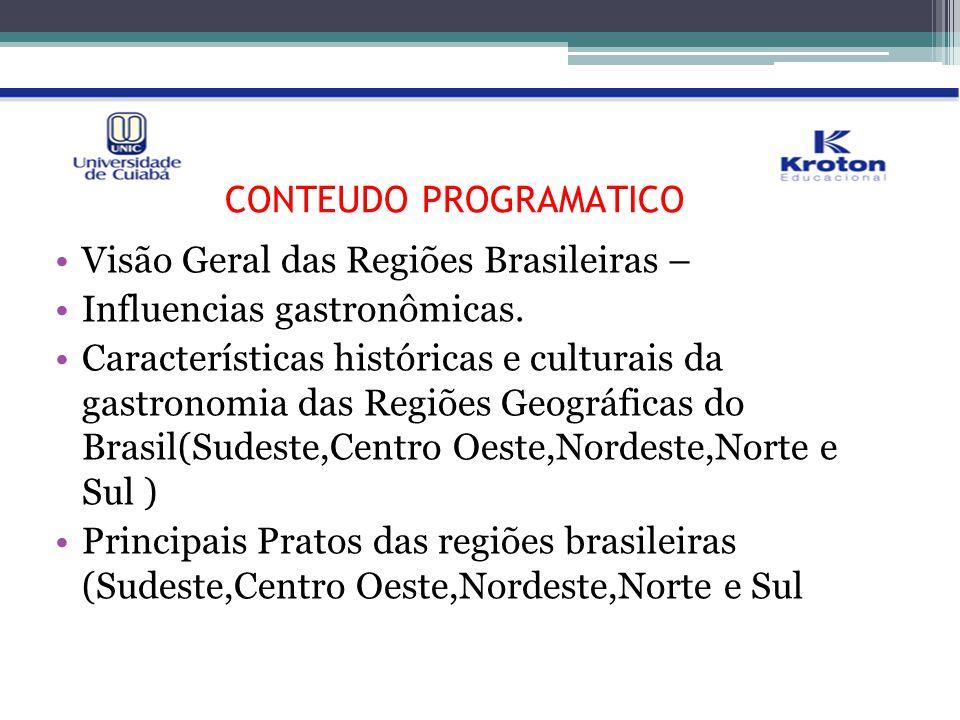 PLANO DE ENSINO: CRONOGRAMA DE AULA/ CONTEÚDO PROGRAMÁTICO Visão Geral das Regiões Brasileiras – Influencias gastronômicas. Características históricas