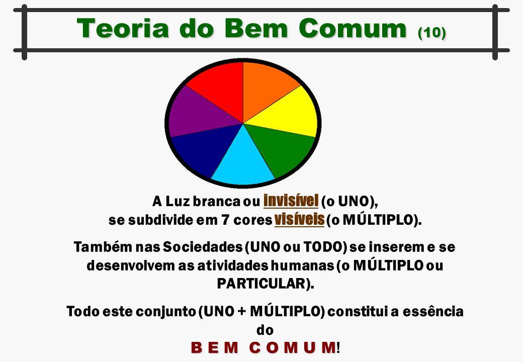 Teoria do Bem Comum (10) A Luz branca ou invisível (o UNO), se subdivide em 7 cores visíveis (o MÚLTIPLO). Também nas Sociedades (UNO ou TODO) se inse